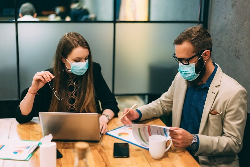 Businesspeople At Work During Covid 19 Pandemic